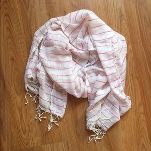 3/$12 Lightweight White and Pink Scarf with Fringe